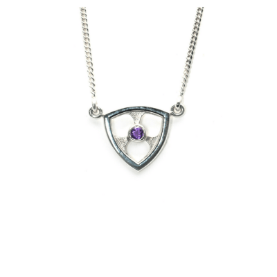 Trillion Architecturally Inspired Pendant with Amethyst accent
