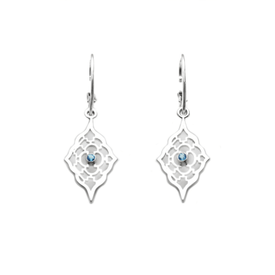 Sterling Silver Moroccan earrings with Blue topaz accents