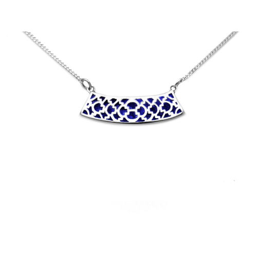 Sterling Silver Saxon Lattice pendant with Lapis inlay