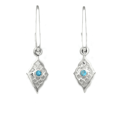 Small Moroccan Earrings with Blue Topaz