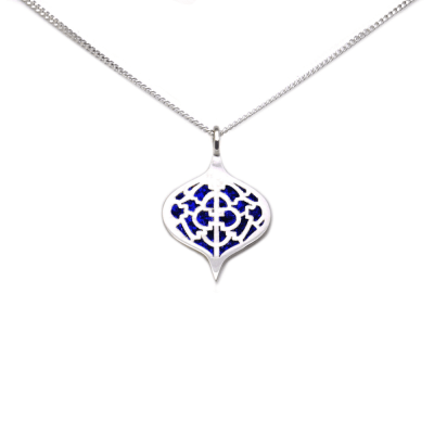 Sterling Silver Saxon Pendant with Lapis inlay