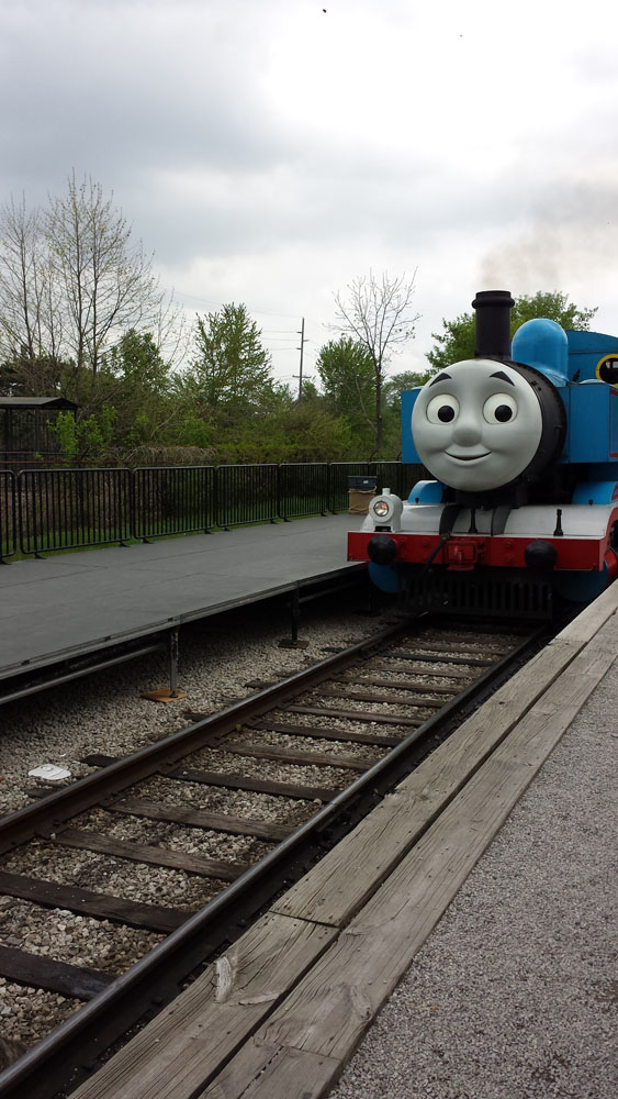 Thomas the train - a real life-sized version of the animated tv show character, pulling train cars you can ride inside.
