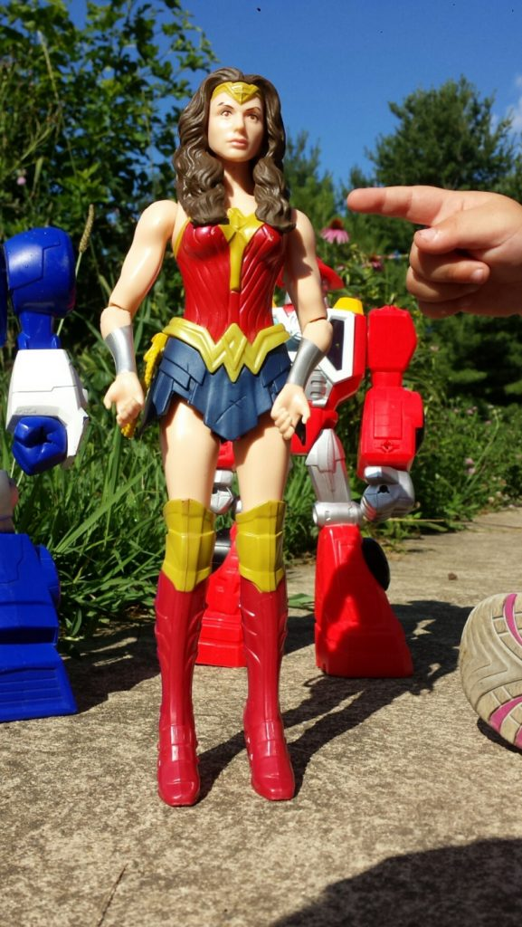 Wonder Woman with her buddies, the Rescue Bots, we didnt pack her this time.