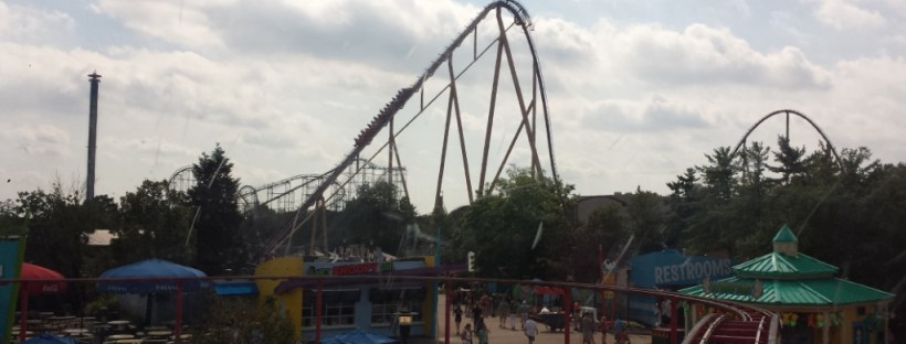 Picture of a large roller coaster track from afar.
