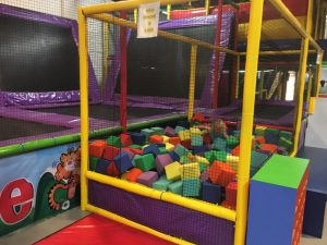 Inside an indoor playground in a mall that also had food.