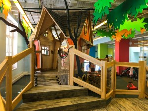 A playhouse that is designed to look like it's in a tree at COSI, Center of Science and Industry in Columbus, Ohio