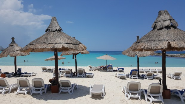 Pictured: a beach with lounge chairs, permanent thatched umbrellas, leading to the turquoise ocean water.