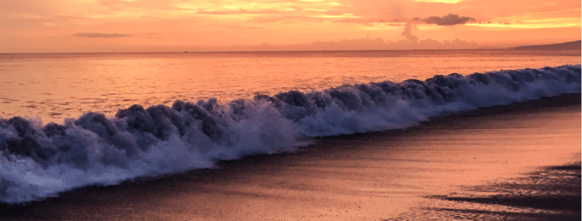 A picture of a pacific ocean wave at sunset, as the banner image for 8 Travel Blogs You Should Be Reading