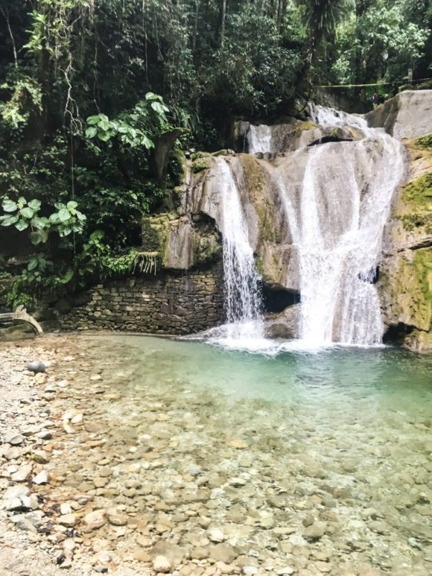 A waterfall, part of the Edward James garden.