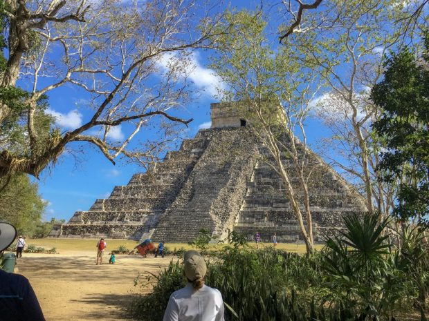 """The """"back side"""" of the Pyramid of Kukulkan. It is the part that wasn't restored."""