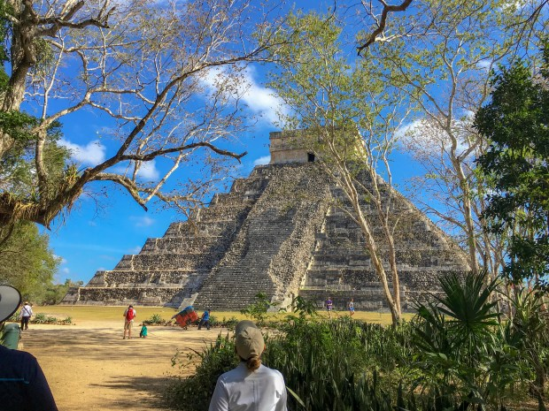 "The ""back side"" of the Pyramid of Kukulkan. It is the part that wasn't restored."