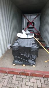 15-foot Bliss Mobil unit with sub-frame in container ready to ship.