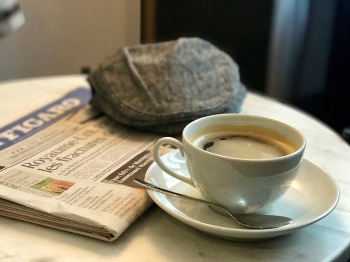A coffee for him at Square Louvois Hotel.