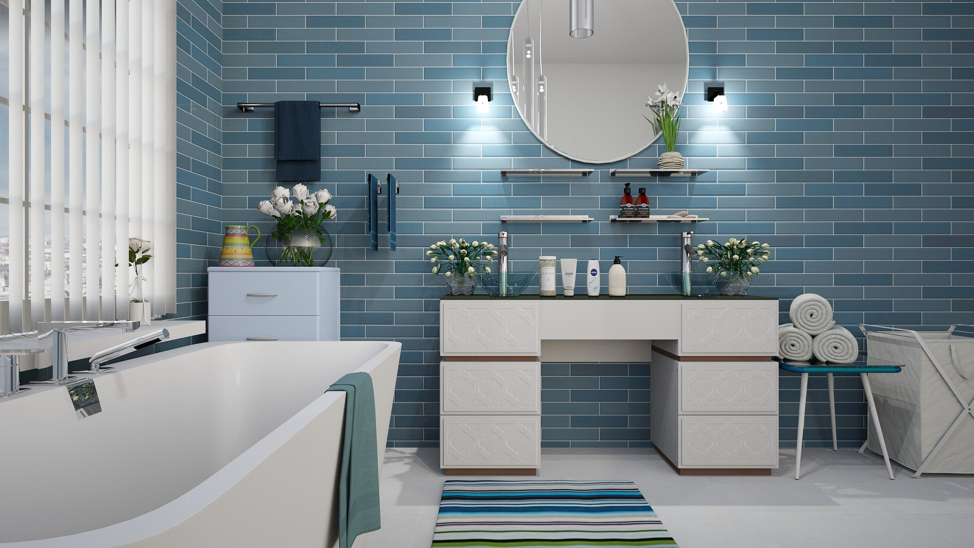 bathroom with blue tiles light
