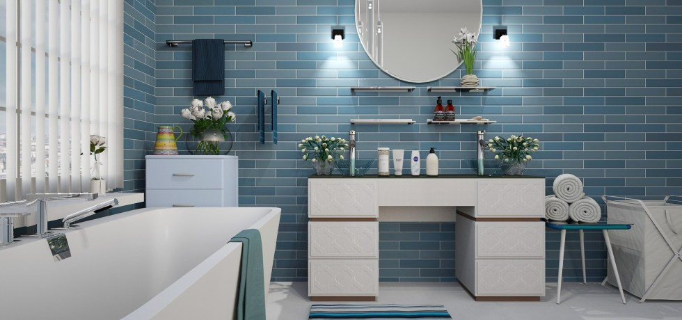 bathroom with blue tiles light