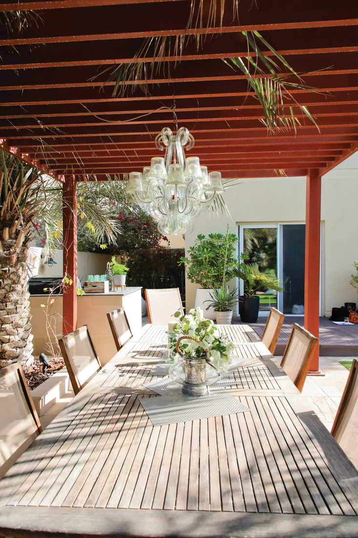 outdoor shaded dining area