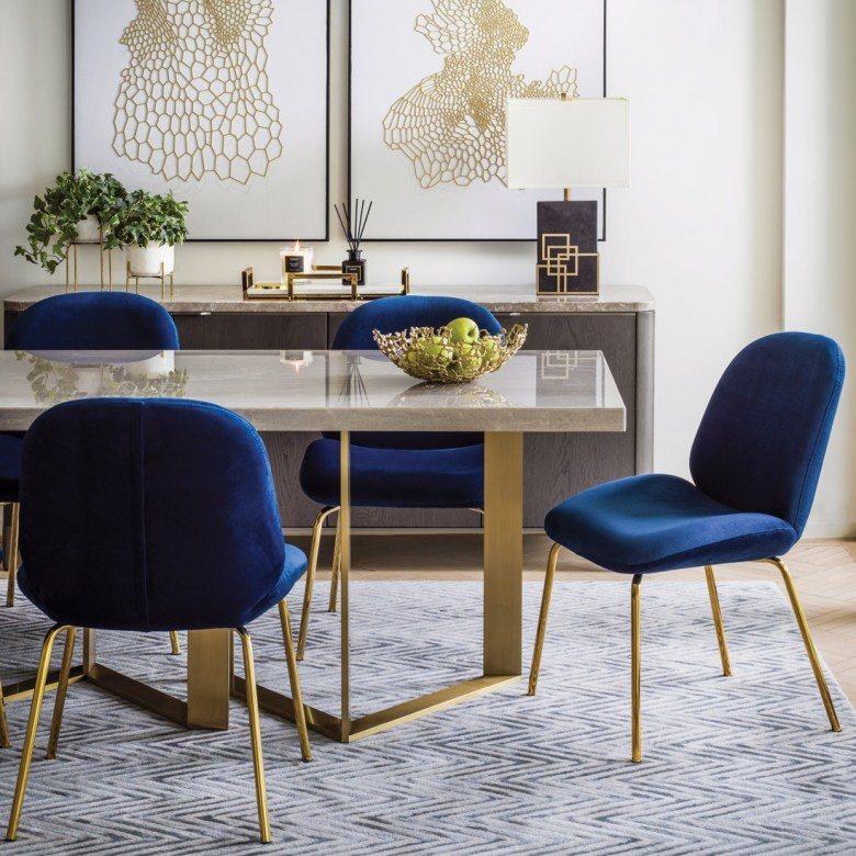 luxury dining table metal blue chairs