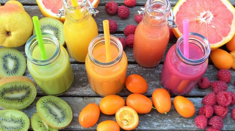 rainbow smoothies kiwi orange raspberry grapefruit