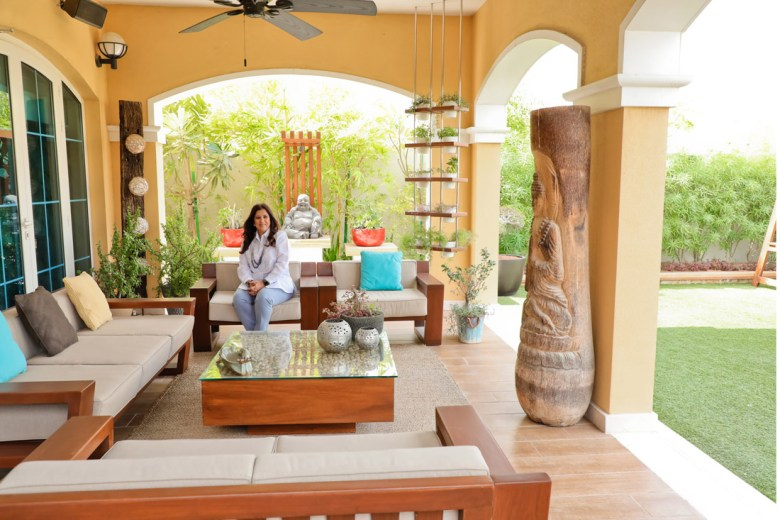 Sejal Nagjee and her sofas and table designed by her own team