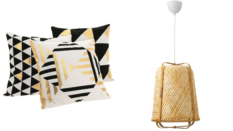 Gold white and black pattern cushions and ikea pendant lamp
