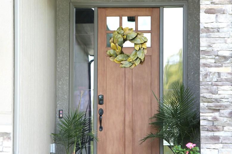 Leaf wreath on brown door