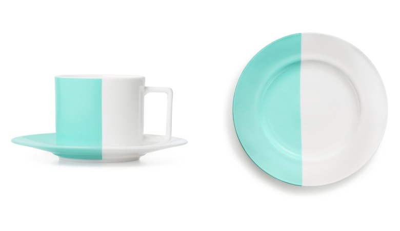 Color Block teacup and saucer, Dhs355, Color Block dessert plate, Dhs245