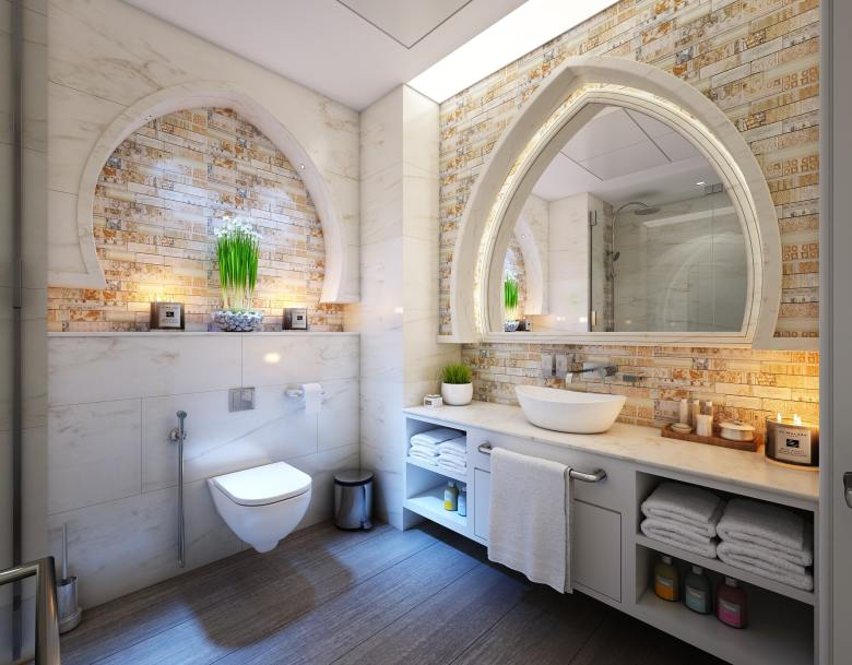 bathroom with cream tiles