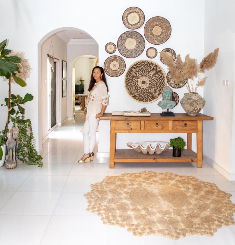 Jo England in her tribal boho style hallway
