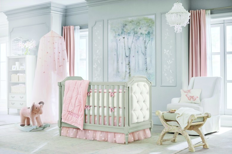 Pottery Barn Kids pink crib