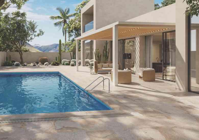 Lapitec stone tiles swimming pool