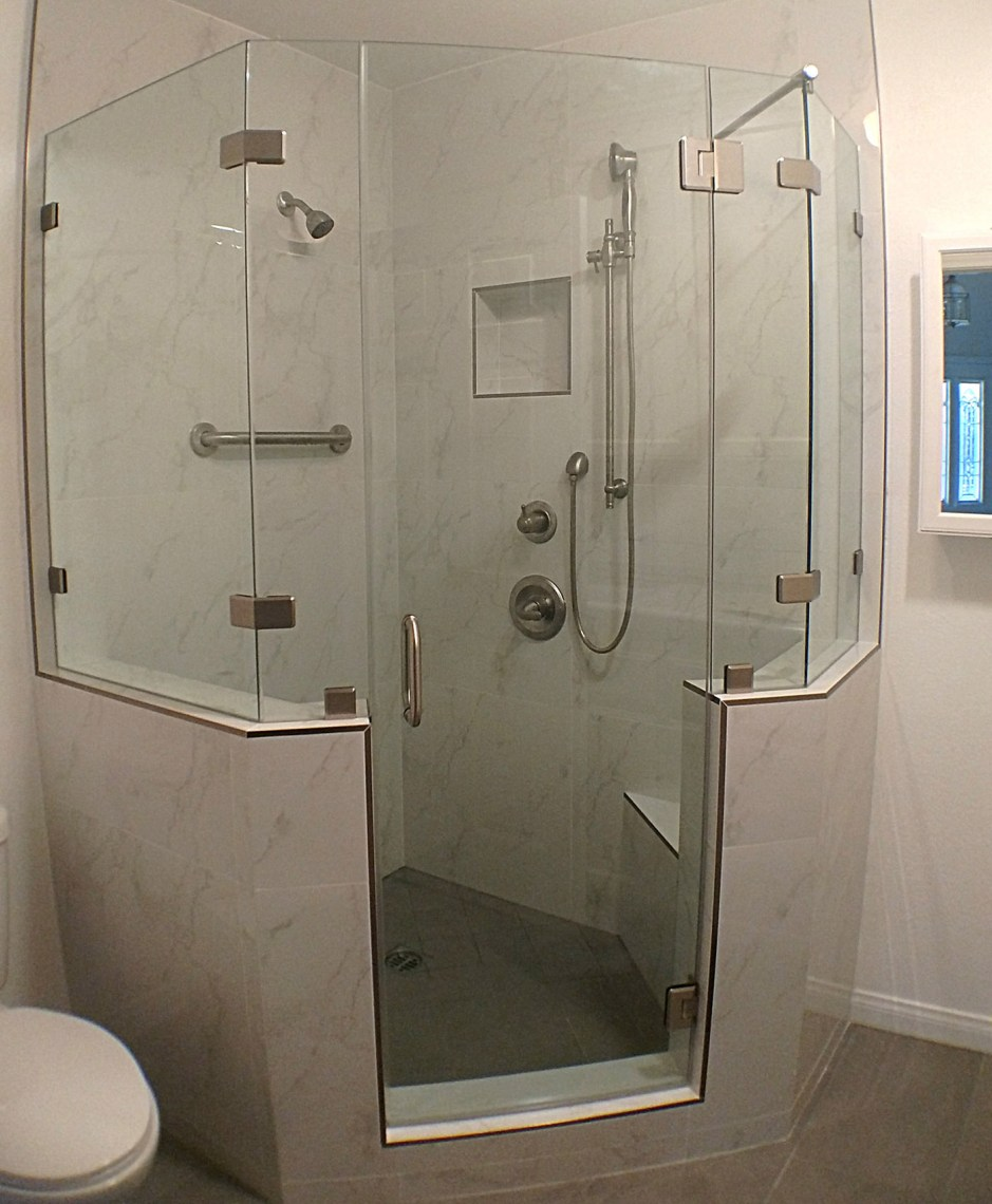 Home Slide Neo Angle With Notch Panel And Brace By Blizzard Frameless Showers