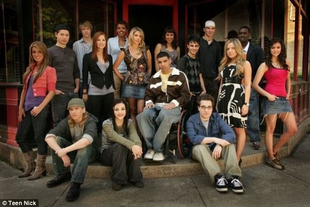 Throwback: Drake (center in the wheelchair) and Nina (far right)  posed with the Degrassi cast for a 2007 promotional shot