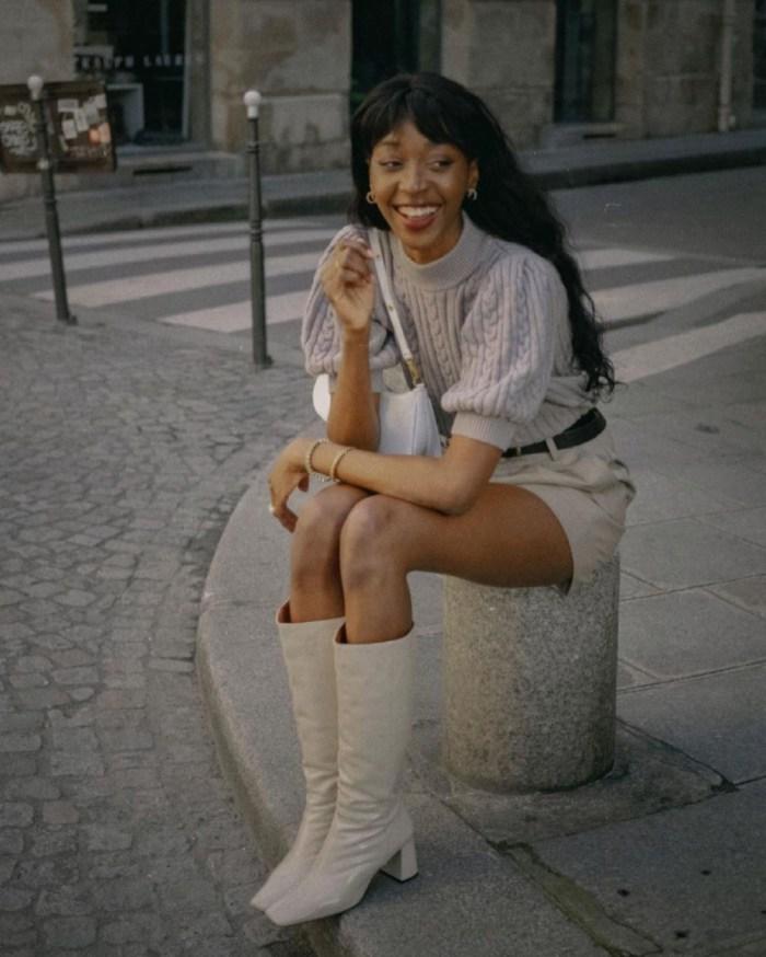 Spring 2021 Knitwear | Emmanuelle Koffi wearing the Gestuz Rawangz Turtleneck Jumper in Slate Gray