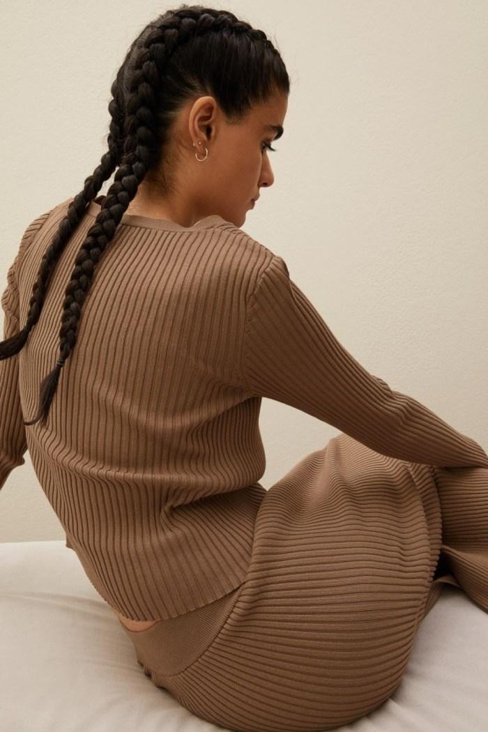 H&M Rib-Knit Cardigan - Dark Beige