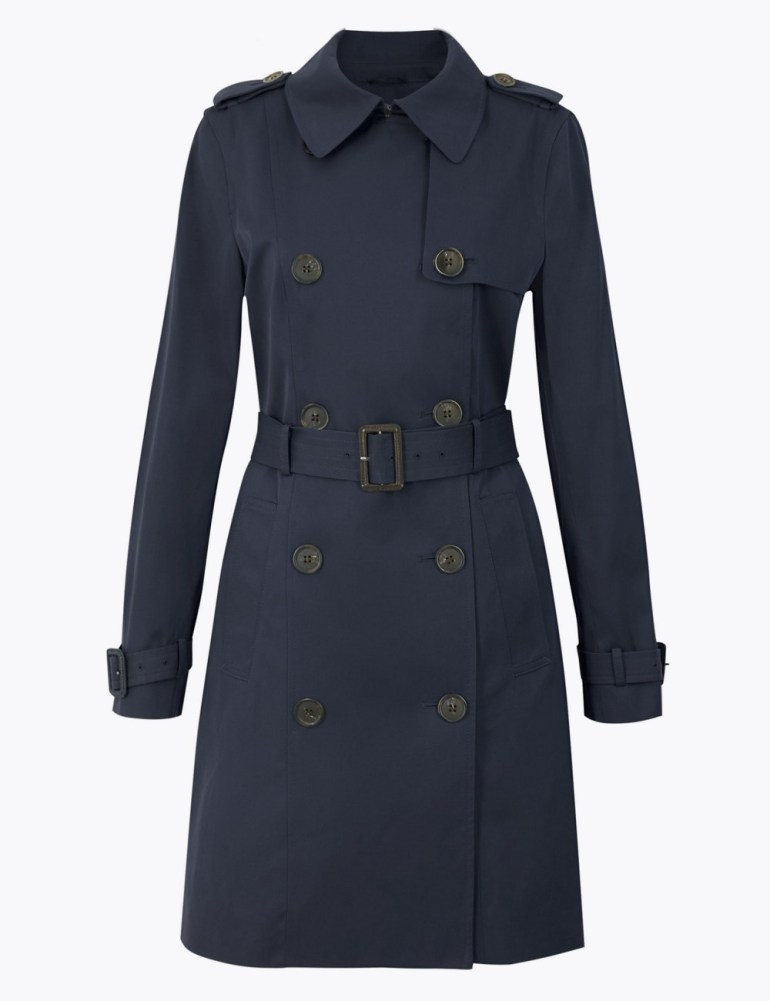 M&S Collection Double Breasted Trench Coat - Navy