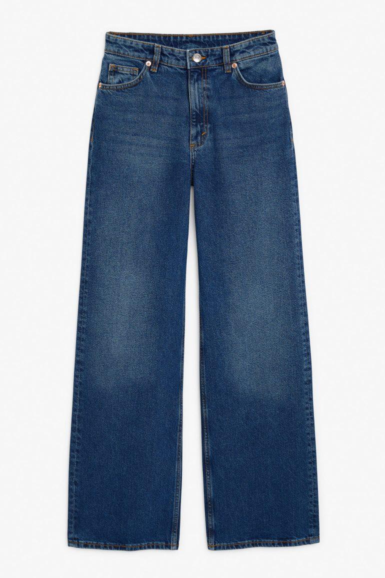 Monki Yoko Organic Cotton Wide Leg Jeans in Classic Blue
