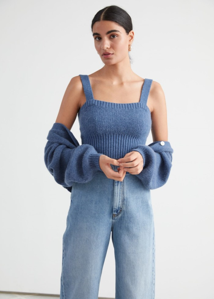 & Other Stories Cropped Knit Top - Blue