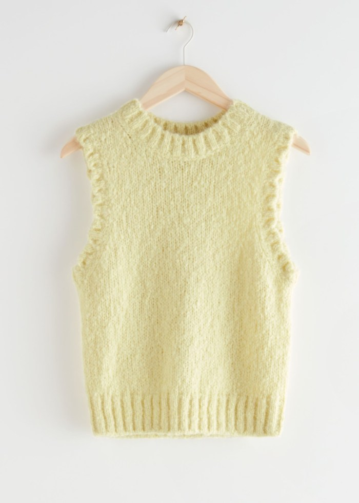 & Other Stories Fuzzy Scallop Knit Vest - Light Yellow