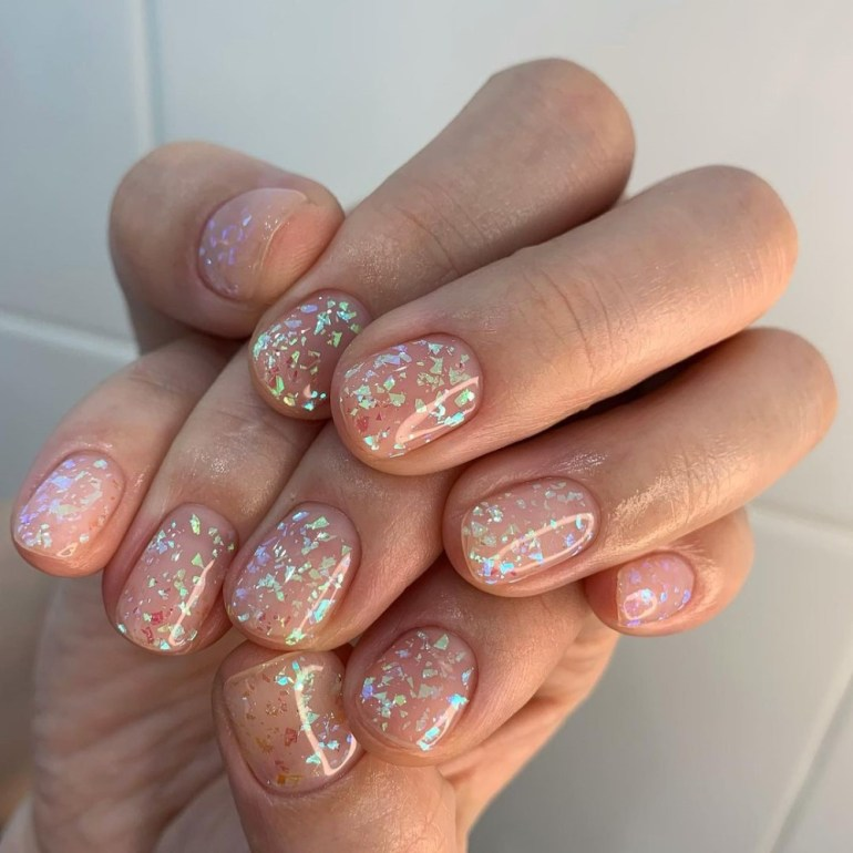 Spring Manicure: Pearlescent Nails   Flecked Pearl Manicure by Piznail