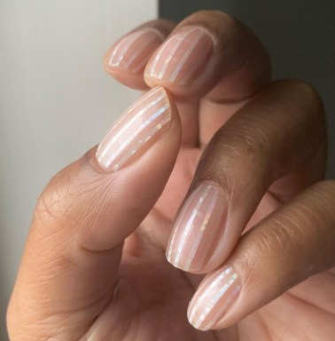 Spring Manicure: Pearlescent Nails   Striped Pearl Manicure by Christina Pinnock