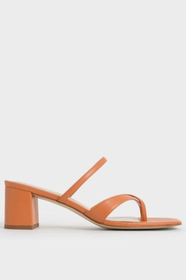 The Summer Sandals To Buy in 2021: Charles & Keith Block Heel Toe Loop Sandals - Orange