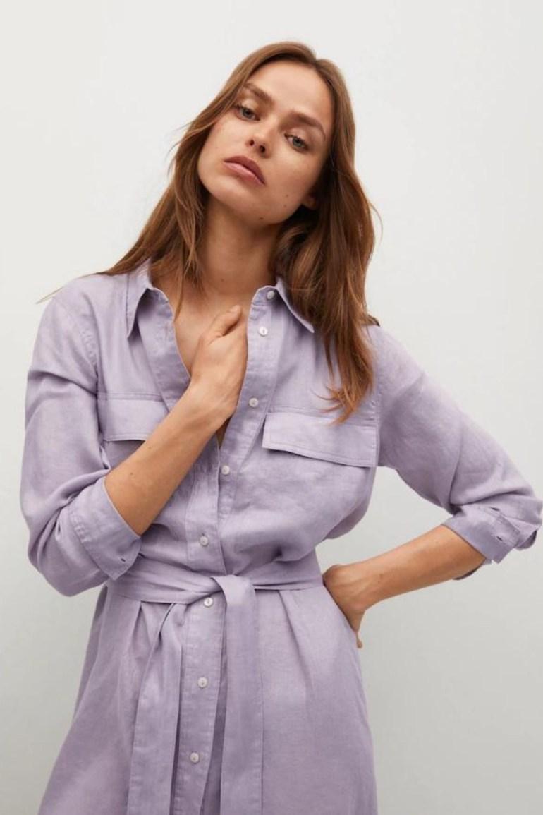 Mango Linen-Blend Shirt Dress