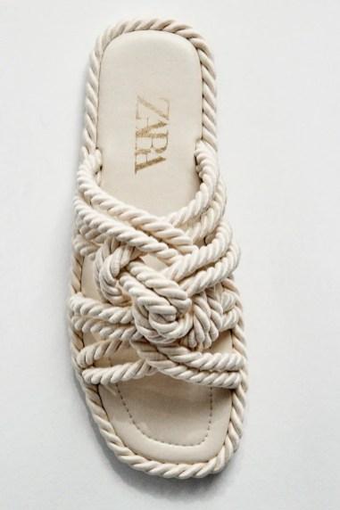 ZARA Flat Sandals With Knots - Ecru