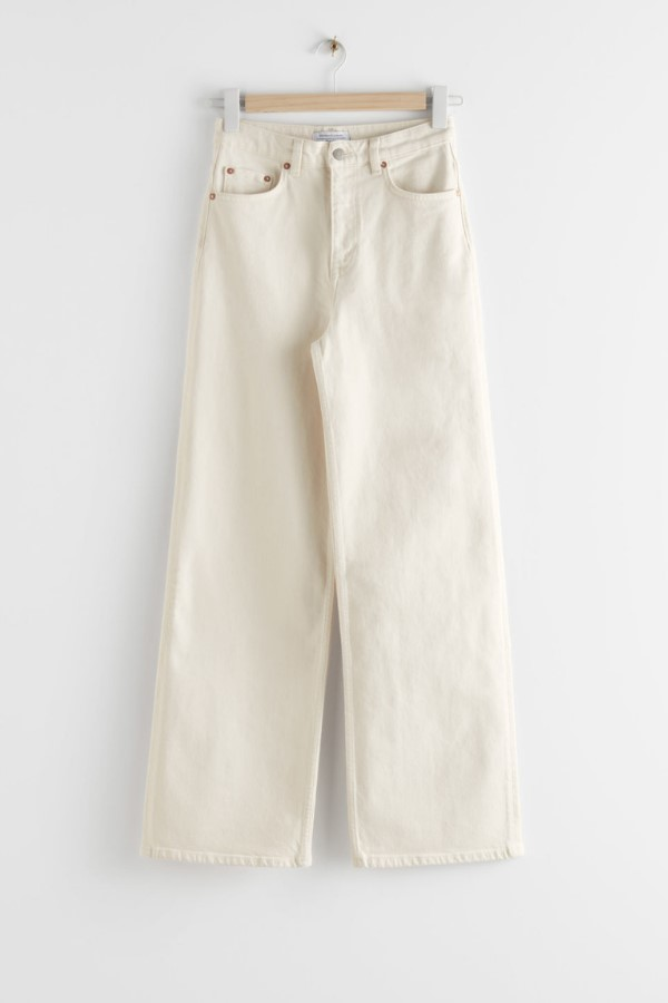 Shop the & Other Stories Straight High Waist Jeans - Creme