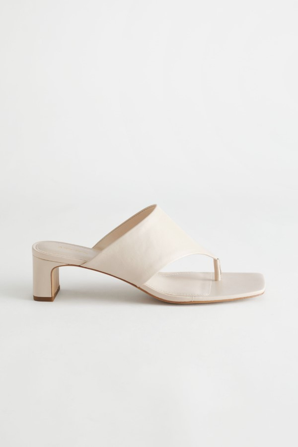 & Other Stories Thong Strap Leather Mule Sandals - Beige