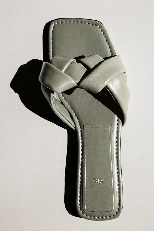 ZARA Braided Leather Flat Sandals - Khaki Green