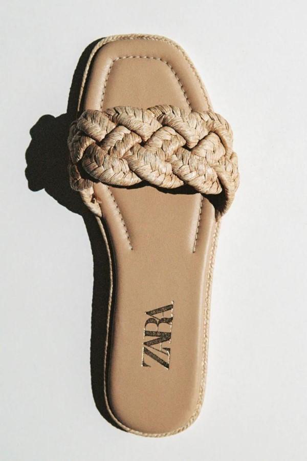 ZARA Flat Woven Raffia Sandals