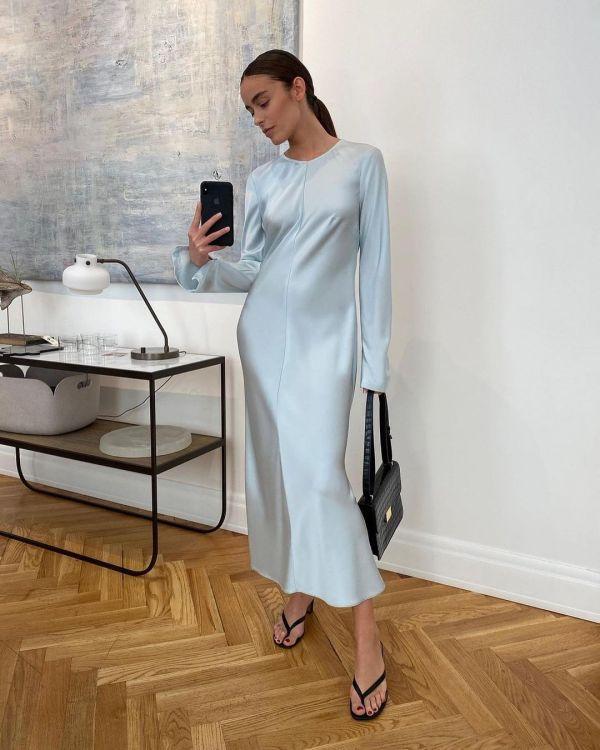 12 STOREEZ Zipped Sleeve Midi Dress - Light Blue