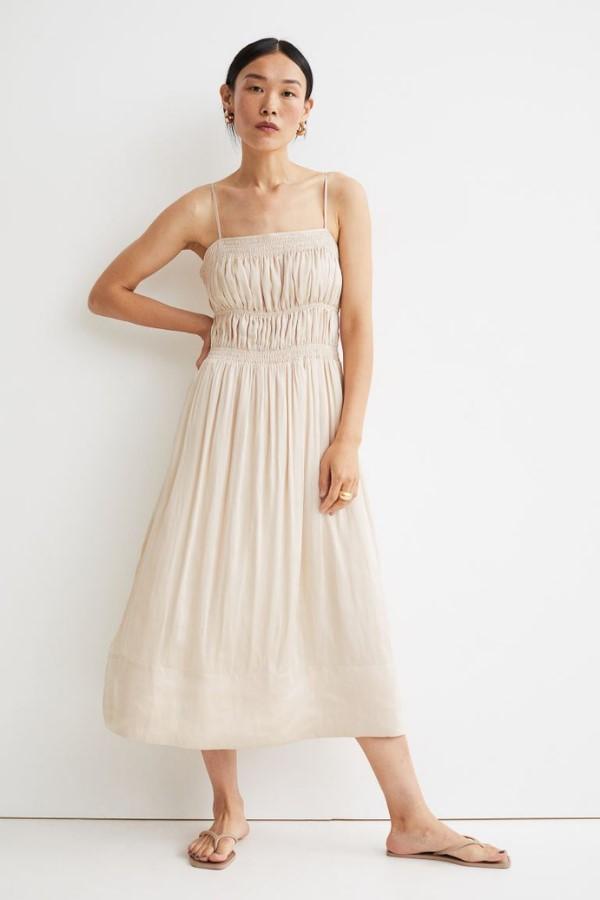 H&M Smocking-Detail Satin Dress