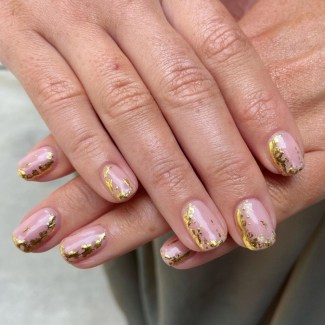 Autumn 2021 Nail Art Trends - Molten Metal Nails by True Blue Nails
